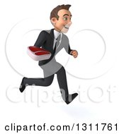Clipart Of A 3d Happy Young White Businessman Sprinting To The Right And Holding A Beef Steak Royalty Free Illustration