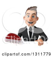 Clipart Of A 3d Happy Young White Businessman Holding A Beef Steak Over A Sign Royalty Free Illustration