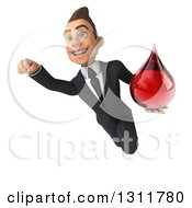 Clipart Of A 3d Happy Young White Businessman Flying And Holding A Blood Drop Royalty Free Illustration