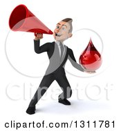 Clipart Of A 3d Happy Young White Businessman Holding A Blood Drop And Announcing With A Blood Drop Royalty Free Illustration