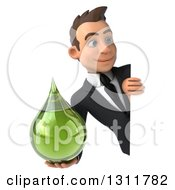 Clipart Of A 3d Happy Young White Businessman Holding A Green Medicine Drop Around A Sign 2 Royalty Free Illustration by Julos
