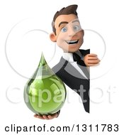 Clipart Of A 3d Happy Young White Businessman Holding A Green Medicine Drop Around A Sign Royalty Free Illustration by Julos