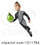 Clipart Of A 3d Happy Young White Businessman Flying And Holding A Green Medicine Drop 4 Royalty Free Illustration by Julos