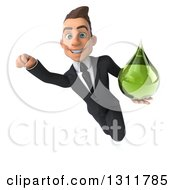 Clipart Of A 3d Happy Young White Businessman Flying And Holding A Green Medicine Drop 3 Royalty Free Illustration by Julos