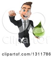 Clipart Of A 3d Happy Young White Businessman Flying And Holding A Green Medicine Drop Royalty Free Illustration by Julos