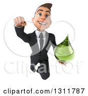 Clipart Of A 3d Happy Young White Businessman Flying And Holding A Green Medicine Drop 2 Royalty Free Illustration by Julos