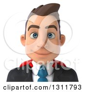 Clipart Of A 3d Avatar Of A Happy Young White Super Businessman Royalty Free Illustration