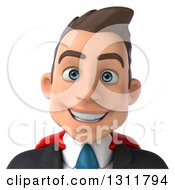 Clipart Of A 3d Avatar Of A Happy Young White Super Businessman 2 Royalty Free Illustration