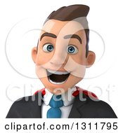 Clipart Of A 3d Avatar Of A Happy Young White Super Businessman 3 Royalty Free Illustration