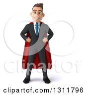 Clipart Of A 3d Happy Young White Super Businessman With Hands On His Hips Royalty Free Illustration