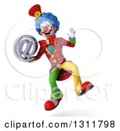 Clipart Of A 3d Clown Character Jumping And Holding An Email Arobase At Symbol Royalty Free Illustration
