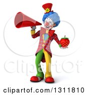 Clipart Of A 3d Clown Character Holding A Strawberry And Announcing With A Megaphone Royalty Free Illustration