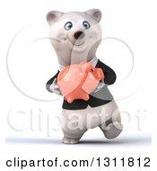 3d Business Polar Bear Walking And Holding A Piggy Bank