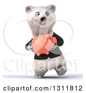 Clipart Of A 3d Business Polar Bear Walking And Holding A Piggy Bank Royalty Free Illustration