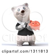 3d Business Polar Bear Holding And Pointing To A Piggy Bank