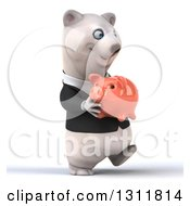 3d Business Polar Bear Walking Slightly To The Right And Holding A Piggy Bank
