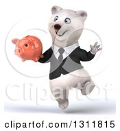Clipart Of A 3d Business Polar Bear Jumping And Holding A Piggy Bank Royalty Free Illustration