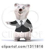 3d Business Polar Bear Pointing To The Left