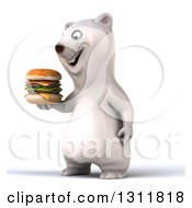 Clipart Of A 3d Polar Bear Facing Slightly Left And Holding A Double Cheeseburger Royalty Free Illustration