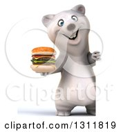 Clipart Of A 3d Full Length Polar Bear Holding A Double Cheeseburger Around A Sign Royalty Free Illustration