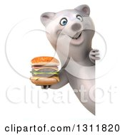 Clipart Of A 3d Polar Bear Holding A Double Cheeseburger Around A Sign Royalty Free Illustration