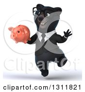 Clipart Of A 3d Bespectacled Black Business Bear Jumping And Holding A Piggy Bank Royalty Free Illustration