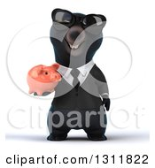 Clipart Of A 3d Black Business Bear Wearing Sunglasses And Holding A Piggy Bank Royalty Free Illustration