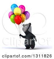 Clipart Of A 3d Black Bear Walking Slightly Left With Party Balloons Royalty Free Illustration