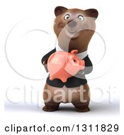 Clipart Of A 3d Happy Brown Business Bear Holding A Piggy Bank Royalty Free Illustration