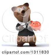 Clipart Of A 3d Happy Brown Business Bear Holding And Pointing To A Piggy Bank Royalty Free Illustration