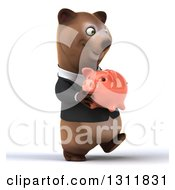 Clipart Of A 3d Happy Brown Business Bear Walking Slightly Right And Holding A Piggy Bank Royalty Free Illustration