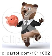 Clipart Of A 3d Happy Brown Business Bear Jumping And Holding A Piggy Bank Royalty Free Illustration