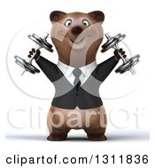 Clipart Of A 3d Brown Business Bear Working Out Doing Shoulder Presses With Dumbbells Royalty Free Illustration