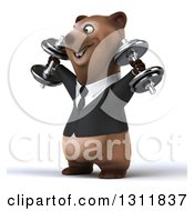 Clipart Of A 3d Brown Business Bear Working Out Facing Left Doing Shoulder Presses With Dumbbells Royalty Free Illustration