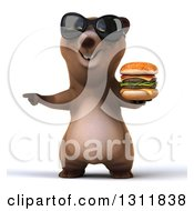 Clipart Of A 3d Brown Bear Wearing Sunglasses Pointing And Holding A Double Cheeseburger Royalty Free Illustration