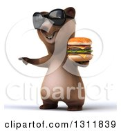 Clipart Of A 3d Brown Bear Wearing Sunglasses Pointing To The Left And Holding A Double Cheeseburger Royalty Free Illustration
