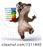 Clipart Of A 3d Bespectacled Brown Bear Jumping And Holding A Stack Of Books Royalty Free Illustration