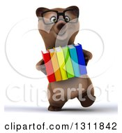 Clipart Of A 3d Bespectacled Brown Bear Walking And Carrying Books Royalty Free Illustration