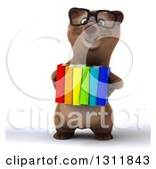 Clipart Of A 3d Bespectacled Brown Bear Holding Books Royalty Free Illustration