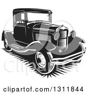 Clipart Of A Black And White Vintage Pickup Truck Royalty Free Vector Illustration by David Rey