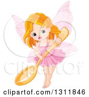 Clipart Of A Cute Red Haired White Fairy Girl In Pink Holding A Giant Spoon Royalty Free Vector Illustration by Pushkin