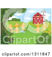 Clipart Of A Red Barn And Silo In A Pasture With A Picket Wood Fence And Hills Royalty Free Vector Illustration