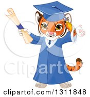Clipart Of A Cute Playful Tiger Cub Graduate Cheering In A Cap And Gown And Holding A Diploma Royalty Free Vector Illustration