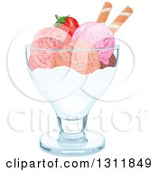 Scoops Of Ice Cream With A Strawberry And Piroette Wafers In A Bowl