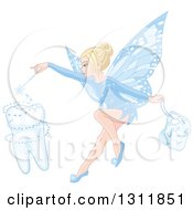 Blond White Female Tooth Fairy Using Her Wand To Create A Molar And Holding A Bag