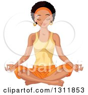 Clipart Of A Beautiful Young Black Woman Meditating In The Lotus Pose Royalty Free Vector Illustration