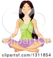 Clipart Of A Beautiful Young Asian Woman Meditating In The Lotus Pose Royalty Free Vector Illustration by Pushkin