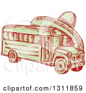 Clipart Of A Sketched Red And Green Bus With A Sombrero On Top Royalty Free Vector Illustration