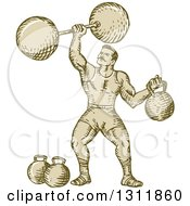 Clipart Of A Sketched Retro Strongman Lifting A Barbell And Holding A Kettlebell Royalty Free Vector Illustration
