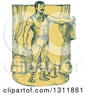 Clipart Of A Sketched Blue And Yellow Cirus Strongman Holding A Weight On Stage Royalty Free Vector Illustration
